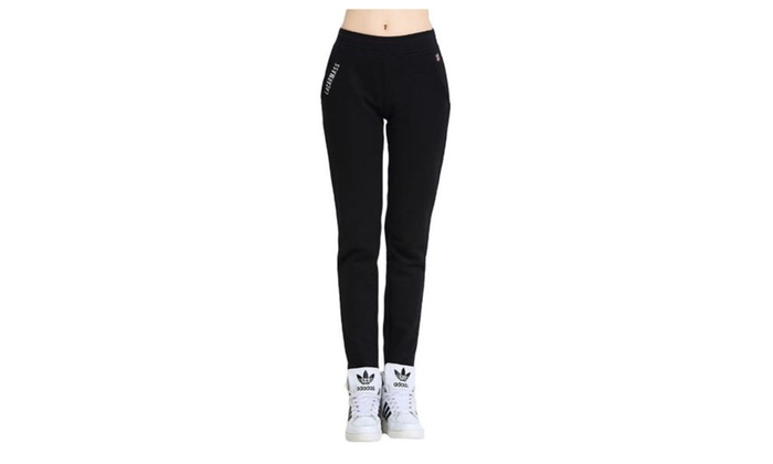 Women's Mid Rise Simple Solid Straight Loose Fit Pants