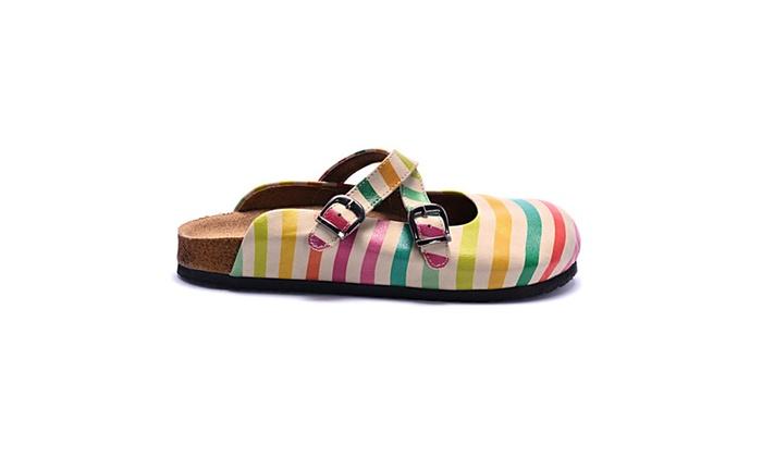 "GOBY Women's Shoes ""Yellow & Blue Stripe Clog"" Sandals BKS103"
