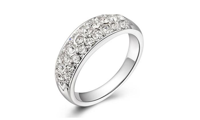 Crystal Inlay Gold Plated Couple Ring Swarovski Element Wedding