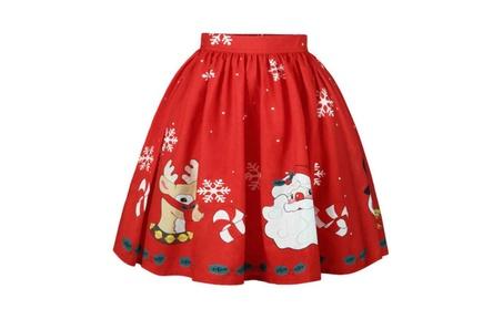 Santa Snowflake Printed Mini A-Line Skirt 18bb7af8-ec3e-4752-9a85-7564add2b1f1