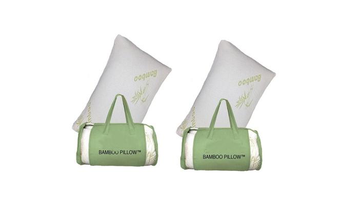 Set of 2 Queen Size Bamboo Memory Foam Pillows Carry Bag Hypoallergenic Comfort