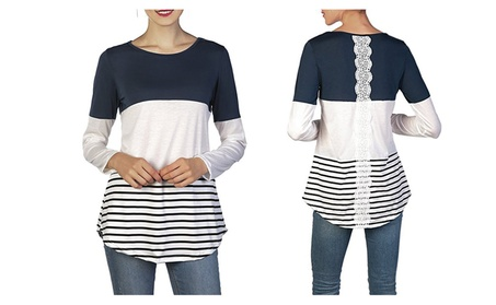 Women's Back Lace Color Block Tops Long Sleeve T-shirts Blouses b29e1dc6-3e45-4208-8d72-d74d5fb75764
