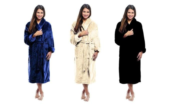 5b29abd4b5 Luxury Ultra Soft Micro Fleece Robe Unisex Shawl BathRobe Women ...