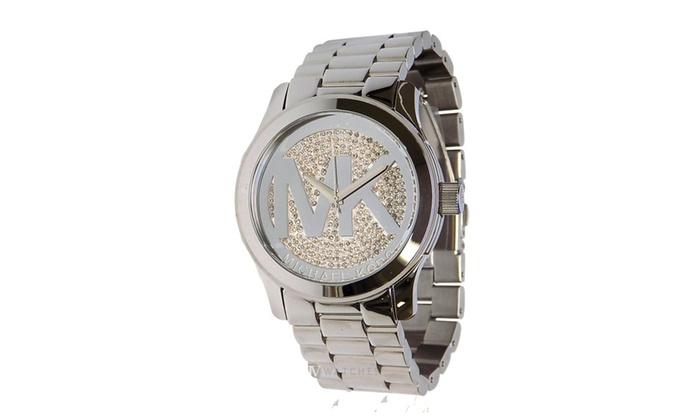 8c2c9464daab Michael Kors Women s MK Logo Runway Glitz Silver 45mm Watch MK5544 ...