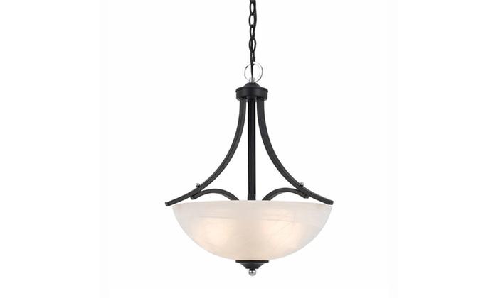 Paris Collection 3-Light Black and Chrome Pendant