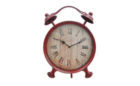 Cheungs Rattan Red Table Clock with Kickstand - Distressed Red ce429990-6a58-4211-9574-e815a0518076