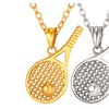Gold Color Chain Tennis Racket Pendant Unisex Necklace