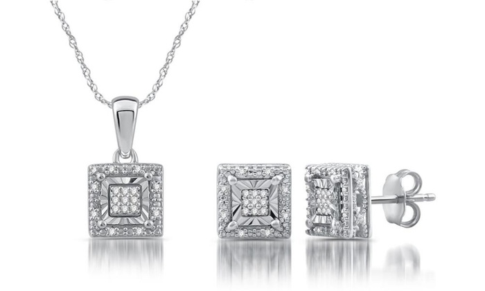 1 6 Cttw Diamond Square Shaped Pendant Earring Set In Sterling Silver By Decarat