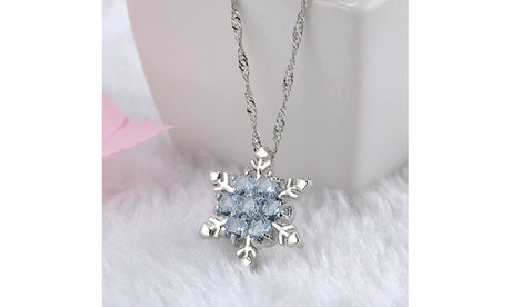 Unique Elegant Blue Crystal Snowflake Frozen Flower Silver Pendants Necklace