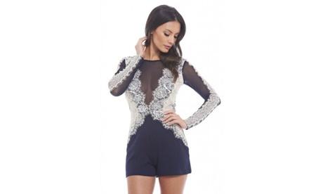 AX Paris Mesh Lace Sleeve Romper 19c56a8d-2332-4761-aa42-cfee317ad7a6