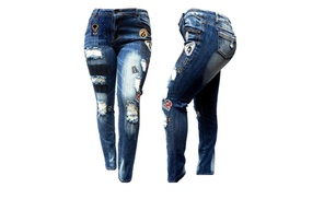 Women's Plus Size Ripped Distressed Patches Blue Denim Skinny Jeans