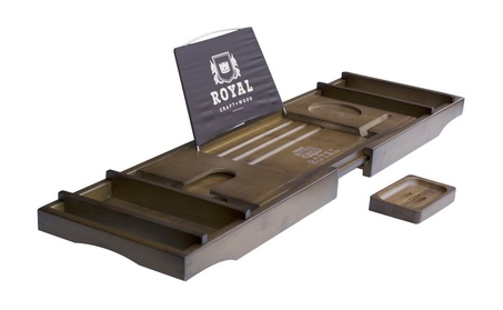 Luxury Bamboo Bathtub Caddy Tray with Soap Holder 91703bdf-db04-4a84-ab29-eb994a52281c