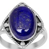 Orchid Jewelry 6.90 Carat Oval Cut Lapis in Square 0.925 Silver Ring