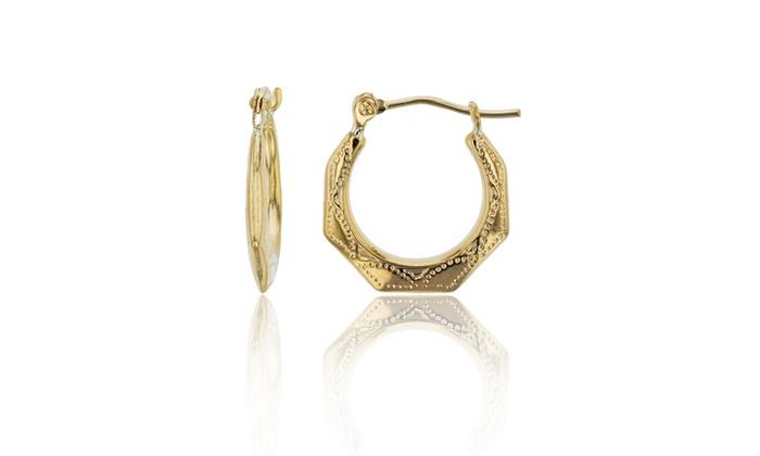 a2f3b08b85825 14K Yellow Gold 15x2mm Polished & Textured Hexagon Hoop Earring