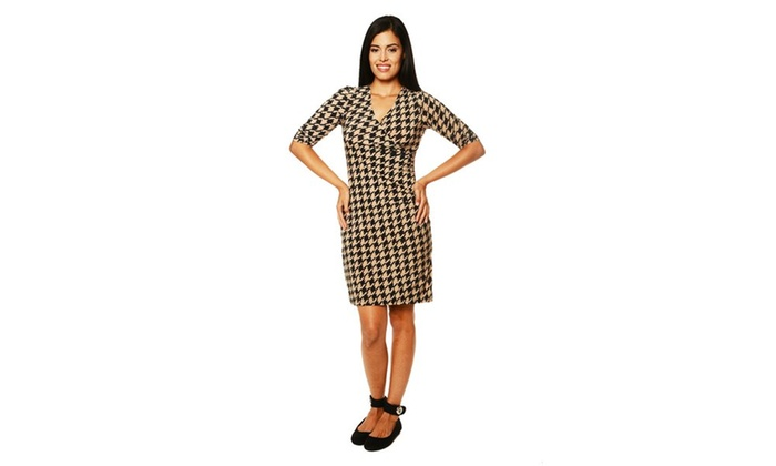 24/7 Comfort Apparel Women's Abstract Beauty Printed Faux Wrap Dress
