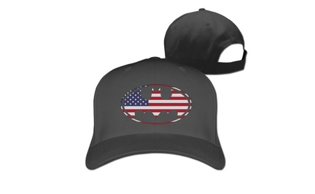 Batman- U.S. Flag Icon Baseball Cap Hats Black 61715c52-ff8a-4f98-a1c3-67c9229d952b