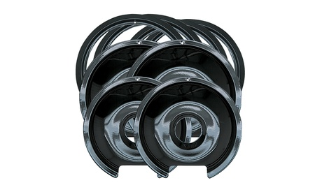 Range Kleen P1056RGE8 Black Porcelain 4-Pack Drip Pans and 4-Pack Trim Rings photo