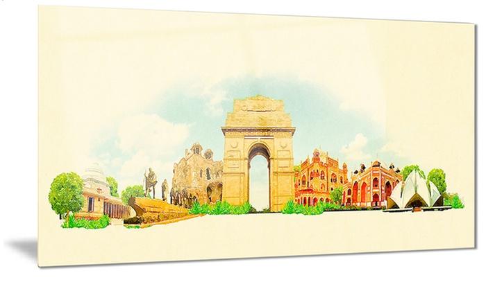 Delhi Panoramic View Cityscape Watercolor Metal Wall Art 28x12 | Groupon