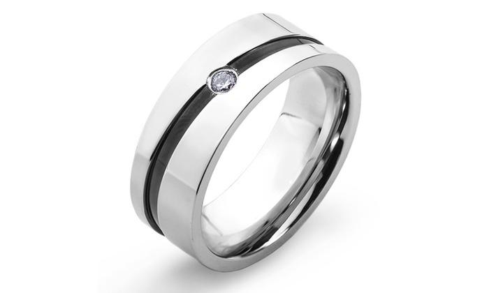Groupon Goods: Stainless Steel Cubic Zirconia Men's Black Stripe Wedding Band