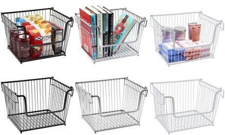 6-Pk Farmhouse Wire Metal Basket Bin - Stackable Storage for Home Kitchen Pantry