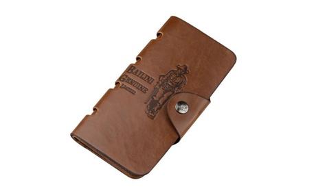 Classic Vintage Man Hasp Hunter Cowboy Long Leather Wallet Man Purse (Goods Men's Fashion Accessories Wallets) photo