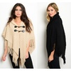 Button Strap Poncho - 4 Colors