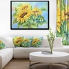 Three Sunflowers - Floral Art Framed Canvas Print
