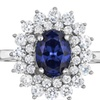 Natalia Drake Blue Crystal and Cubic Zirconia Oval Cluster Spray Ring