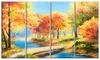 Wooden Bridge in Colorful Forest - Landscape Metal Wall Art