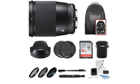 Sigma 16mm f/1.4 DC DN Contemporary Lens for Sony with SD Card Accessory Bundle photo