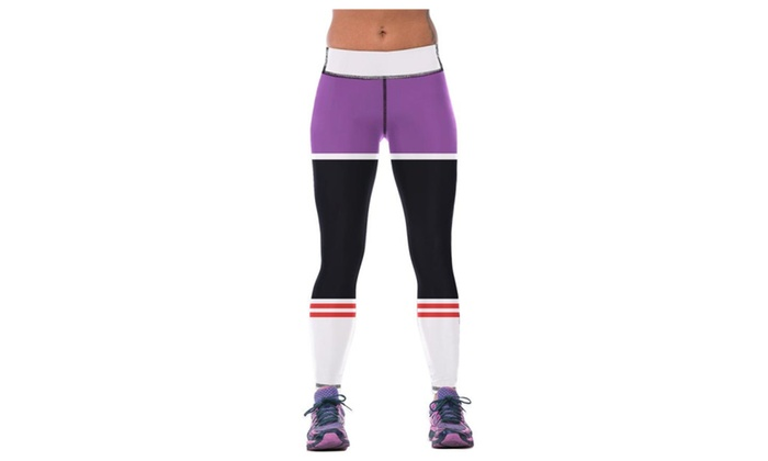 Women's Stripes Printing Four-Pin Six-Line Sewing Flexible Yoga Pants