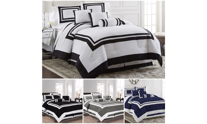 Queen King Chezmoi Collection 7-Piece Hotel style Comforter Set Full Cal King
