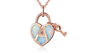 Fire Opal Heart Lock and Key Necklace in 18K Gold Plating by Peermont