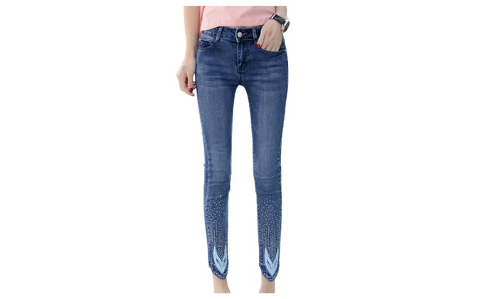 Women's Beaded Cotton Skinny Pencil Ankle Jeans