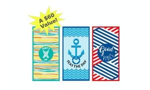 """BeachTech 3-Pack Summer Vibes Lightweight Compact 32"""" x 64"""" Towels"""