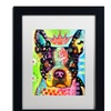Dean Russo 'Boston Terrier Crowned' Matted Black Framed Art