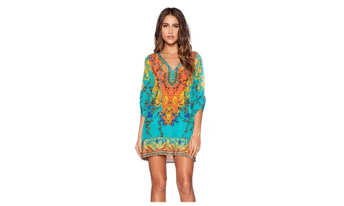 Summer Chiffon Beach Dresses Sexy Half Sleeve Casual Slim Dress