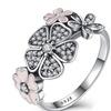 Pink Enamel&Clear Cherry Blossom Daisy Flower Ring for Women