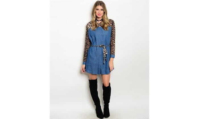 7913b03455f5c Long Sleeve Denim Chambray Leopard Print Mix Tunic Ladies Mini Dress M  Denim Gray