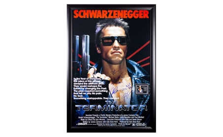 The Terminator - Cast Signed Movie Poster 27x41 in Wood Frame with COA 50e3a2d3-4c29-4397-8721-57208af3ea65