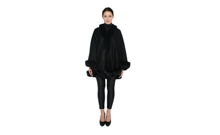 Pure Cashmere Fox Fur Trim Cape from Cashmere Pashmina Group 031d86b4-a5d2-4f62-9177-d90b55624c55