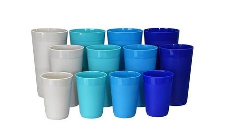 12pc Newport Unbreakable Plastic Cup Tumblers in 4 Coastal Colors 6e4c8666-ead1-4e12-b5a9-a3ded8be6ee7