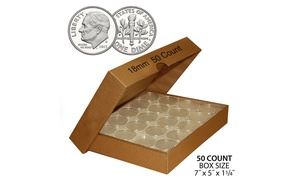 Coin Capsule Holders Direct-Fit Airtight - Quantity 50 with BOX - All Sizes