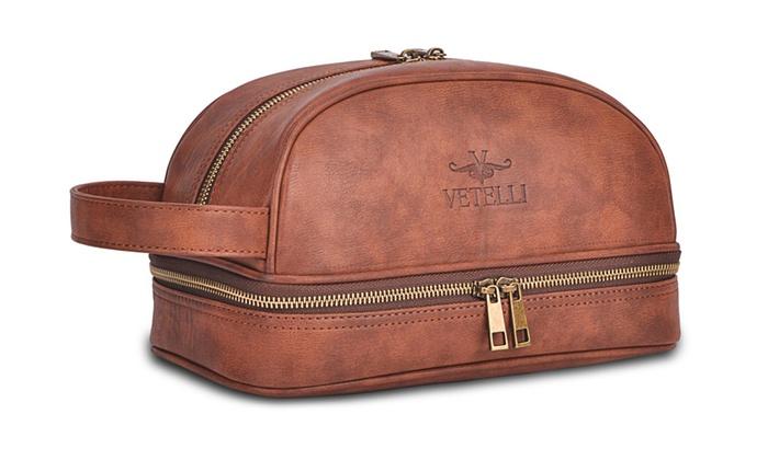 7d9462b306eb Vetelli Leather Toiletry Bag For Men Dopp Kit with free Travel Bottles