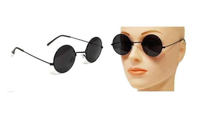 e1dfb3066a Retro John Lennon Sunglasses Round Shades Black Frame Black Lenses ...