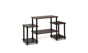 Furinno Turn-N-Tube No Tools Entertainment Center, Dark Brown & Black