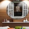Wooden Walls and Windows' Landscape Metal Circle Wall Art
