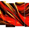 Red Lava Ribbons - Large Abstract Wall Art - 60x32 - 5 Panels