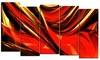 Groupon Goods: Red Lava Ribbons - Large Abstract Wall Art - 60x32 - 5 Panels