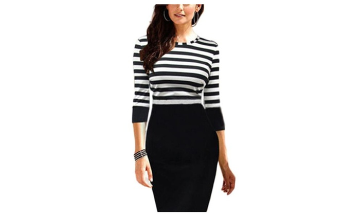 Women's Fashion Stripes All over Printed Round Neck 3/4 Sleeve Dress